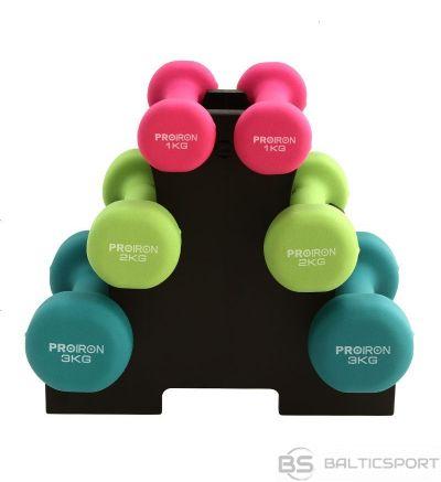 PROIRON PRKNDS12K Dumbbell Weight Set, 6 pcs (2 x 1 kg, 2 x 2 kg, 2 x 3 kg), 12 kg, Multicolor, Neoprene