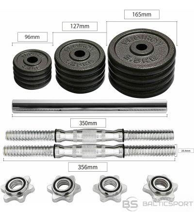 PROIRON PRKCAS20K Adjustable Dumbbell Set, 2 x bars/handles;  4 x 0.5 kg plates; 4 x 1.25 kg plates; 4 x 2.5 kg plates; 4 x collars; 1 x extended bar, 20 kg, Black