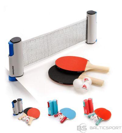 Galda tenisa komplekts Meteor: 2 raketes, 3 bumbiņas un pārvietojams tenisa tīkls (uzliekams uz galda virsmas)