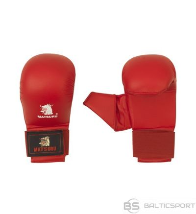 Karate gloves Matsuru with velcro closure and a thumb, synthetic leather, S red