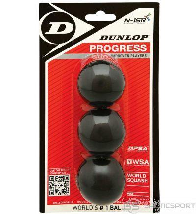 Squash balls DUNLOP PROGRESS 1 red dot 3 ball blister WSF official