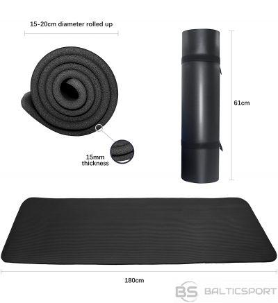 PROIRON Pilates Mat Gym Mat, 180 x 61 x 1.5 cm; Rolled up diameter: 15-20 cm, Black, Rubber Foam