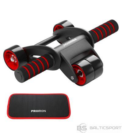 Trenažieris vēdera muskuļiem / vēdera presei / PROIRON Ab Abdominal Roller Whee Black/Red, Stainless-steel bar / Foam handles, Ab roller + Mat
