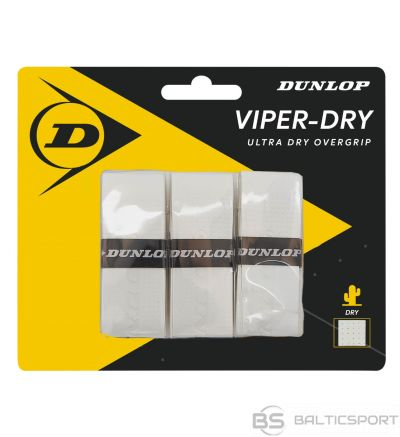 Tennis racket overgrip Dunlop VIPERDRY white 3pcs- blister