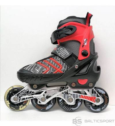 Bērnu regulējamās skrituļslidas - Action - mlens/sarkans 2 in1
