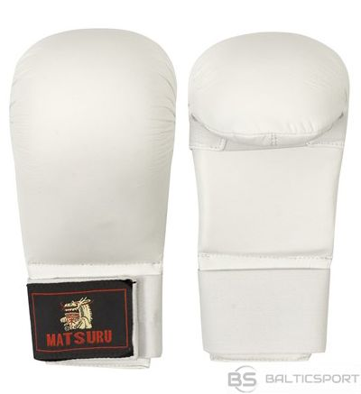 Karate gloves Matsuru with velcro closure, synthetic leather, S white