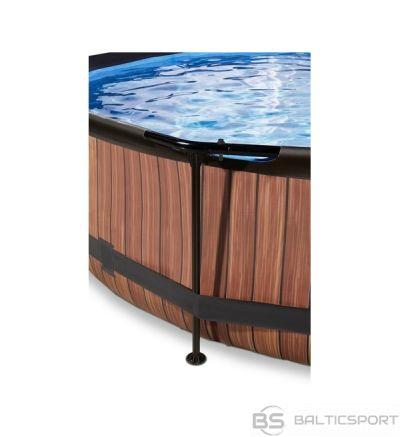 EXIT Wood pool ø360x76cm with filter pump - brown / baseins koka ø360x76cm