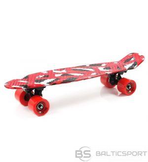 Skrituļdēlis - Penny Board - ātruma dēlis - krāsa sarkans / melns / balts - Geometric