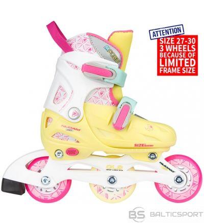 Bērnu regulējamās skrituļslidas Schreuderssport Skates NIJDAM 52SI 27/30 yellow/pink