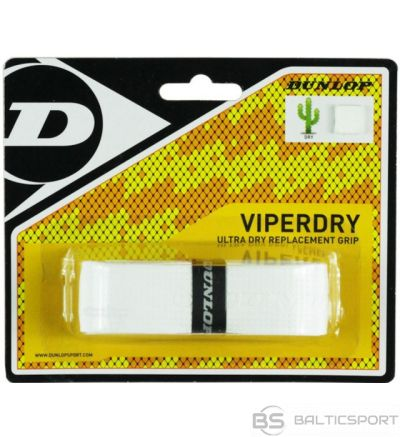 Tennis racket replacement overgrip DUNLOP VIPERDRY, white, blister, 1pcs