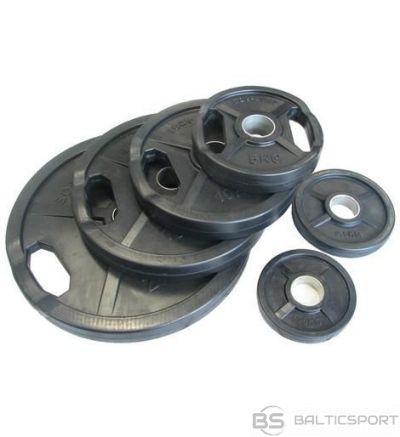 Melns gumijots svaru disks ø50mm 5 kg