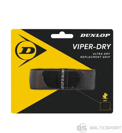 Tennis racket replacement grip Dunlop VIPERDRY blister black1 per pack.