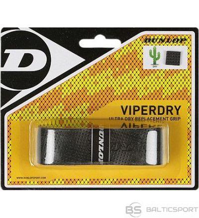Tennis racket replacement grip DUNLOP VIPERDRY blister black 1 per pack.