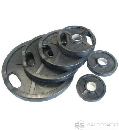 Melns gumijots svaru disks ø50mm 15 kg