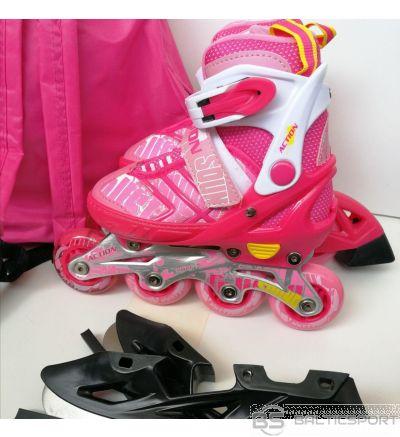 Bērnu regulējamās slidas - Action - rozā 2 in1